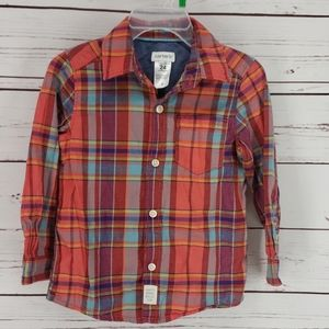 Carters Red Plaid Long Sleeve Button Down Shirt
